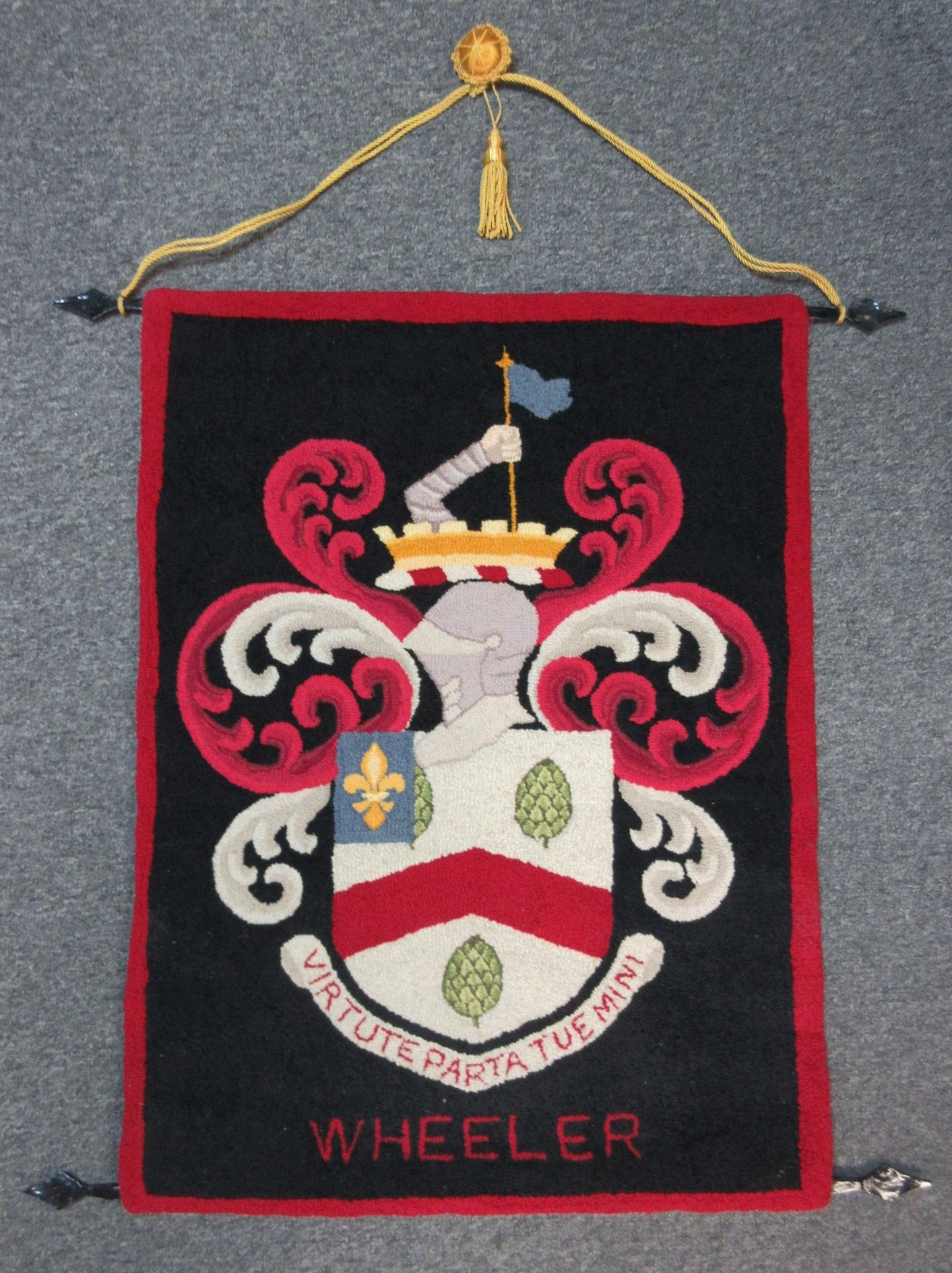 Vintage Wheeler Family Crest Coat Of Arms Hooked Rug