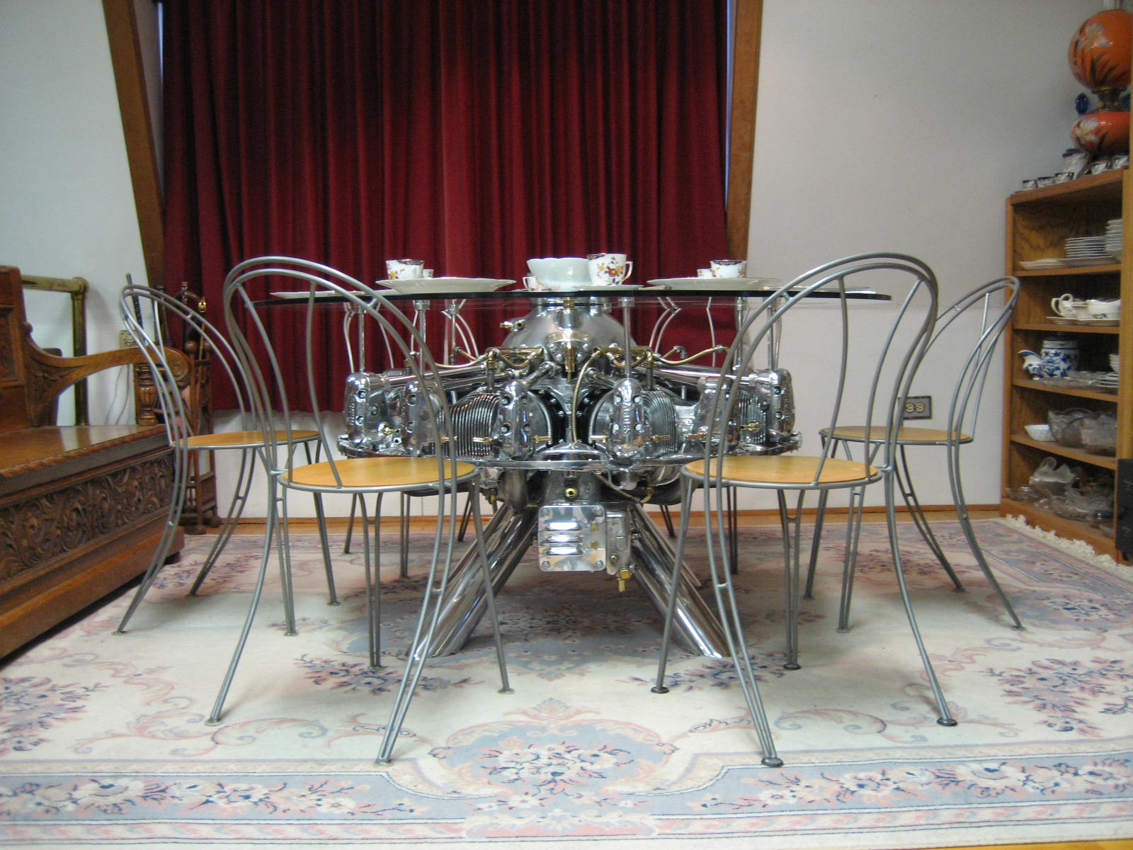World War II Jacob's 1943 Bomber Training Engine Converted to Dining Room Table